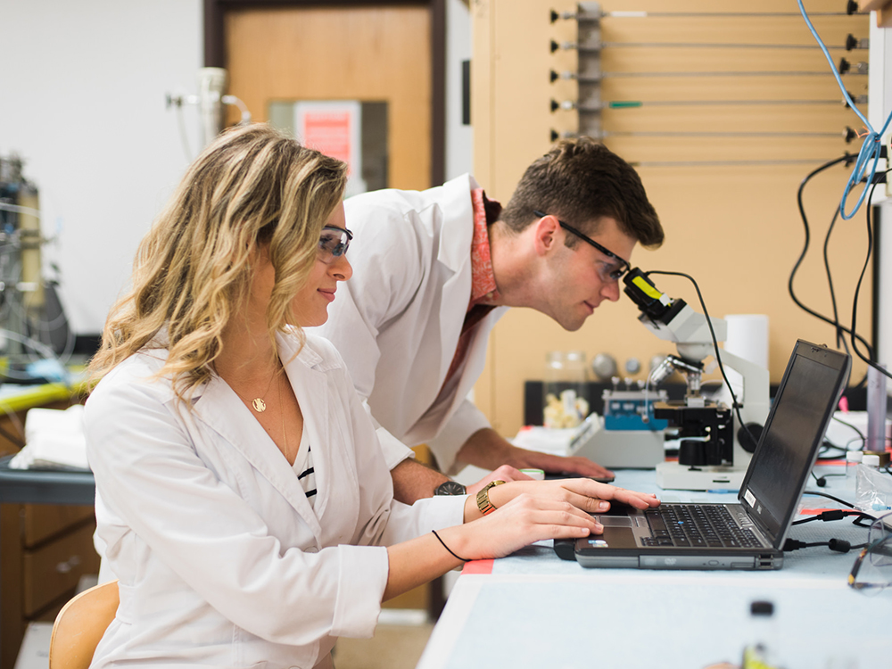 two students in lab