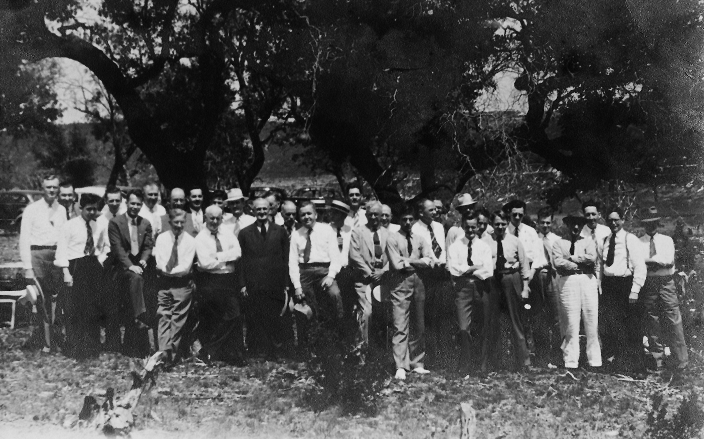 UT PGE faculty and students pose for a photo at an American Institute of Mining, Metallurgical, and Petroleum Engineers (AIME) field trip in Texas, 1936.